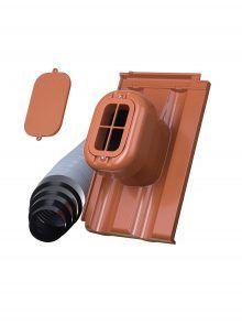 Sanitärlüfter mit Flexschlauch DN 125 für Großfalzziegel Doppelmulde D10 - Zubehör Dachziegel