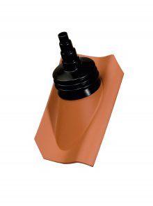 Ton-Antennenziegel mit Manschette für Hohlpfanne H1 - Zubehör Dachziegel